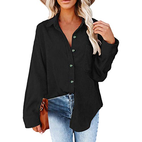 Blusa Larga para Mujer, Moda, Color slido, Personalidad, Botones Irregulares, Dobladillo, Suelta, Informal, Vintage, Camisa Superior de Manga Larga, con Bolsillo S