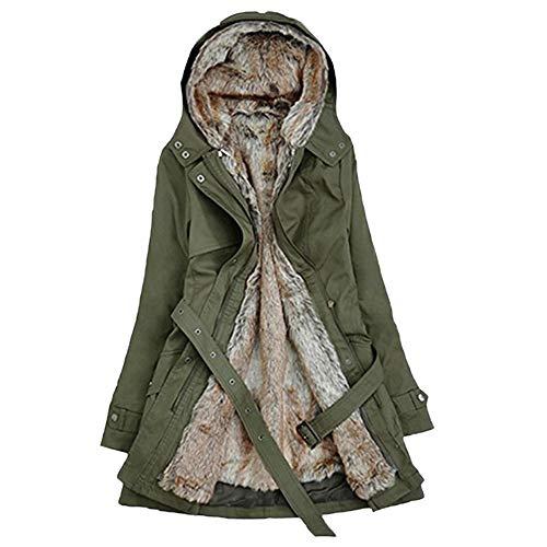 NPRADLA 2018 Herbst Damen Mantel Winter Lang Elegant Festlich Frauen Jacke Mit Kapuze Fell Futter Warm Dicke Langarm Parka(Grün,XL/EU Gr.44)