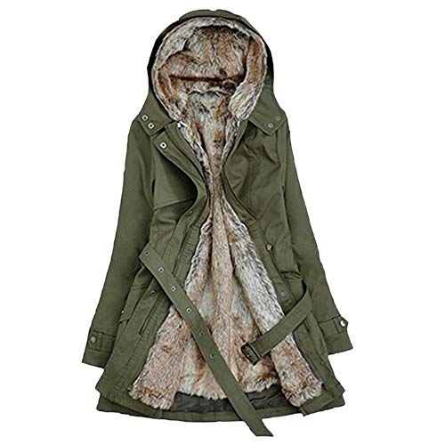 NPRADLA 2018 Herbst Damen Mantel Winter Lang Elegant Festlich Frauen Jacke Mit Kapuze Fell Futter Warm Dicke Langarm Parka(Grün,S/EU Gr.38)