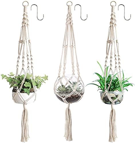 3 x Pflanzenaufhänger, Makramee Blumenampel, hängend Blumentopf mit Baumwollseil, Blumenhänger Pflanzhänger für Innen Außen Decken Balkone Wanddekoration