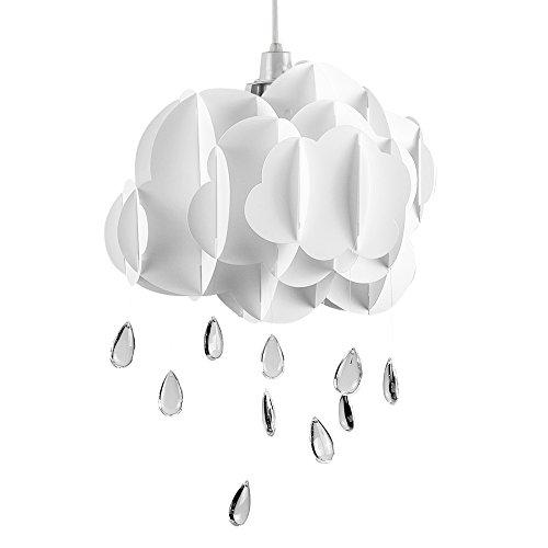 MiniSun – Preciosa pantalla de lámpara de techo infantil en forma de nube con abalorios de lluvia - para dormitorio
