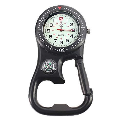 Bclaer72 Karabinerhaken-Uhr, 3-in-1, multifunktional, Nordpfeil-Schlüsselanhänger, Thermometer, Outdoor-Karabiner-Uhr mit weißem Zifferblatt für Ärzte, Krankenschwestern, Sanitäter, Köche (schwarz)