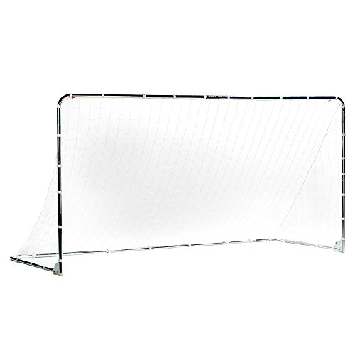 Franklin Sports Premier Steel Soccer Goal - Folding Backyard Soccer Goal with All Weather Net - Kids Backyard Soccer Net - Easy Assembly - 12x6' Soccer Goal - Silver
