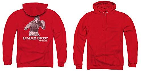 Rocky III Full Zip Hoodie U Mad Bro Red Hoody Back, SM