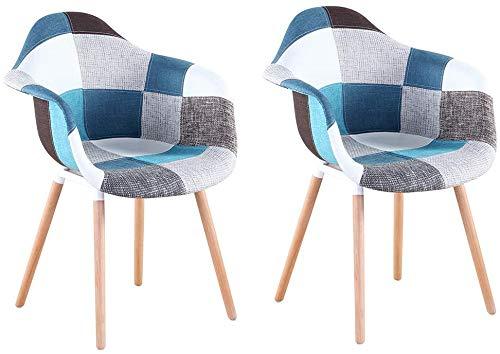 Juego de 2 sillones Patchwork, patas de madera de haya, silla de salón, oficina, cocina, comedor, color azul