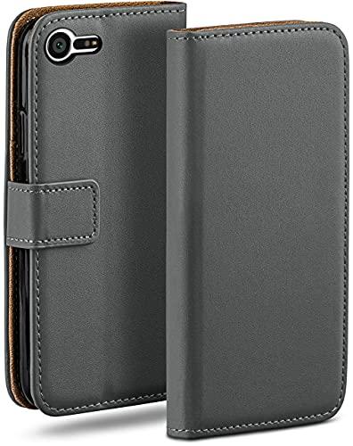 moex Klapphülle für Sony Xperia X Compact Hülle klappbar, Handyhülle mit Kartenfach, 360 Grad Schutzhülle zum klappen, Flip Hülle Book Cover, Vegan Leder Handytasche, Dunkelgrau