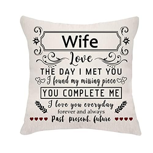 Veemizo, federa per cuscino per moglie, regalo di compleanno da marito, per anniversario di matrimonio, per lei, da marito, San Valentino, Natale (moglie)