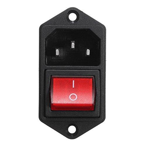 Bluelover 1Pcs 10A 250V 3Pin Iec320 C14 Einlassmodul-Stecker Sicherung Mit Schalter Männliche Steckdose -Red
