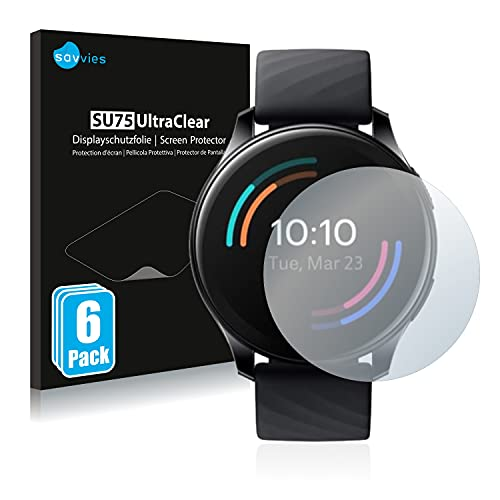 Savvies 6X Schutzfolie kompatibel mit OnePlus Watch Bildschirmschutz-Folie Ultra-transparent