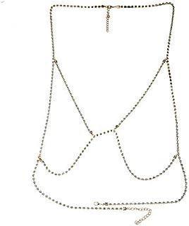 FemNmas Golden Rhinestone Simple Bra Chain for Women & Girls