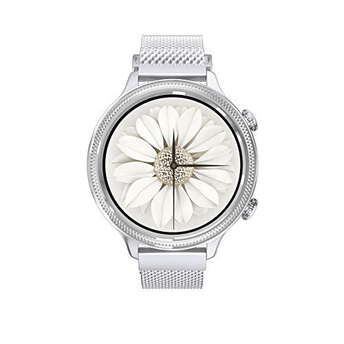 guoda Mujer Reloj Reloj Impermeable Elegante IP67, Pulsera Elegante del Tacto Completo del Círculo Completo, Reloj De La Aptitud De Los Deportes (Color : Silver)