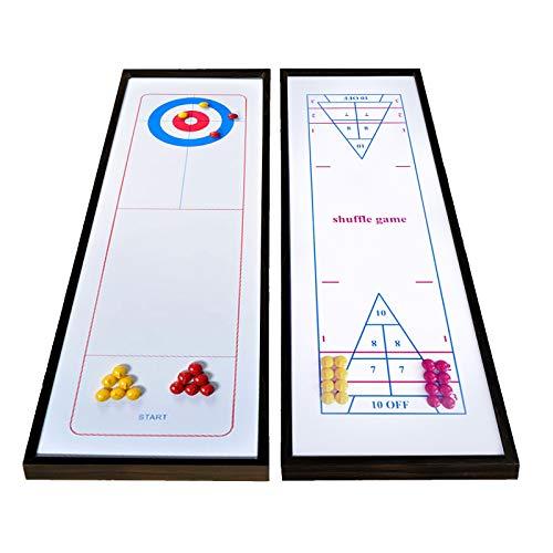 LXYFMS Shuffleboard und Curling 2 in 1 Brett-Spiel-tragbarem Mini-Tischtischspiel Set-tragbare Familienspiele für Kinder und Erwachsene für Innen- und Außenspaß 48
