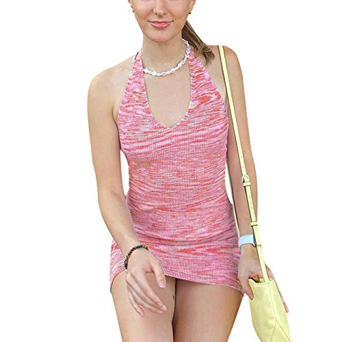 Vestido de punto de costilla para mujer, sexy, teñido anudado, sin espalda, cuello halter, Y2k, estampado bodycon mini vestido de verano Streetwear
