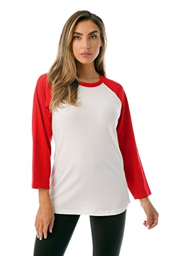 Just Love Colorblock Womens Baseball Tee Shirt with ¾ Sleeves 6763-WHTRED-L