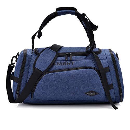 3 in 1 Turnhalle Sporttasche wasserdichte Reise Weekender Tasche für Männer Frauen Seesack Rucksack mit Schuhe Fach Übernachtungstasche 35L (Blau)