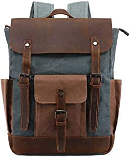 Canvas Backpack,Vintage Backpack Hiking Daypacks Computers Laptop Backpacks Unisex Casual Rucksack Satchel Bookbag Mountaineering Bag for Men Women
