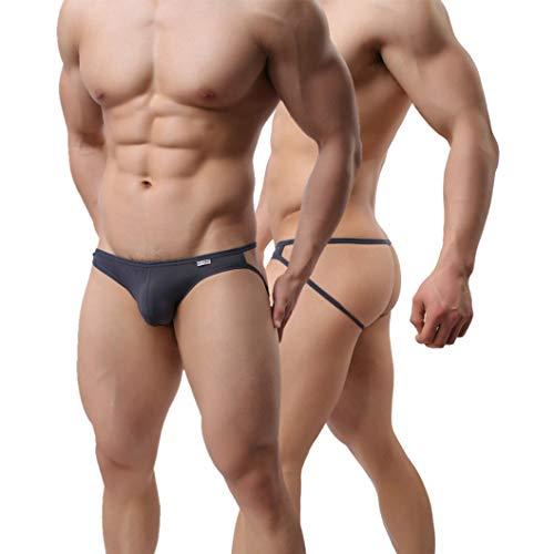 MuscleMate Hot Men's Thong G-String Men's Comfort Underwear Jockstrap Men's Hot Undie (S, Grey)