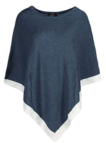 Zwillingsherz Poncho mit Baumwolle - Hochwertiges Cape für Frauen Damen Mädchen - XXL Umhängetuch und Tunika - Strick-Pullover - Sweatshirt - Stola für Frühjahr Sommer Herbst und Winter - JNS