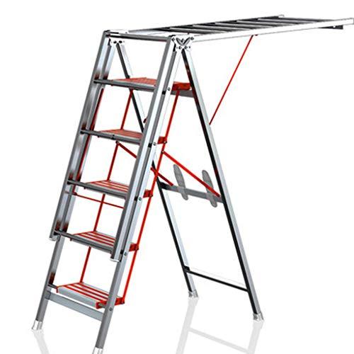 HYY-YY Escalera Plegable Tendedero, Cuatro Pasos Pedal Escalera, multifunción Tendedero 970cmX110cmX500cm