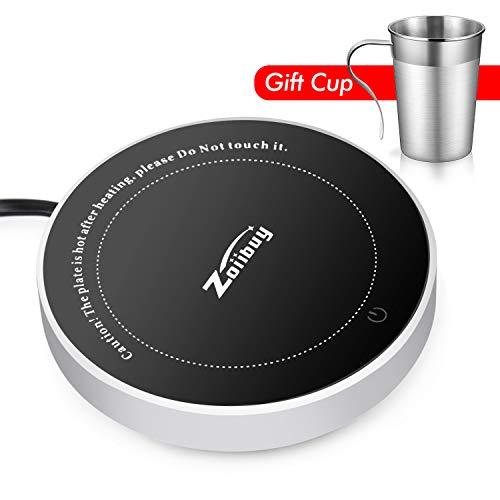 Wandefol Kaffeewärmer Tassenwärmer Becher-Wärmehaltungsplatte Multifunktionale Getränkewärmer Glas mit Elektrischer Heizplatte 220V 18W für Büro-Home-Desk-Verwendung, Kaffee-Liebhaber