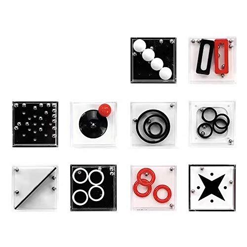 10 Pezzi Labirinto Gioco in Scatola,Equilibrio Labirinto Gioco di Puzzle Scatole,IQ Rompicapo 3D Puzzle Classici Brain Teaser,Giochi educativi per bam