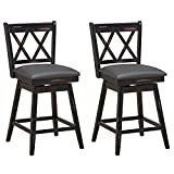 COSTWAY Bar Stool Set of 2, 360 °Swivel Counter Height 25inch Bar Stool with Foot Rest Upholstered Cushion & Ergonomic Backrest, Sturdy Frame, for Pub, Restaurant, Home (2, Black + Grey)