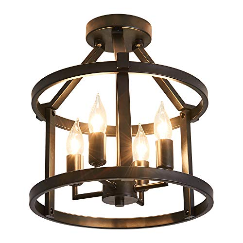 Traditional Semi Flush Mount Ceiling Lighting Fittings ,Farmhouse Black Chandelier 4-Light, Rustic Candle Style Pendant Light for Dining Room, Bedroom, Foyer,Hallway Kitchen
