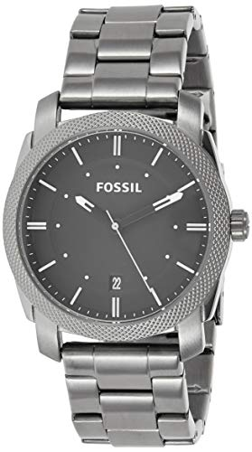 Fossil Men's Machine 3H Quartz Stainless Three-Hand Watch, Color: Smoke, Black Dial (Model: FS4774IE)