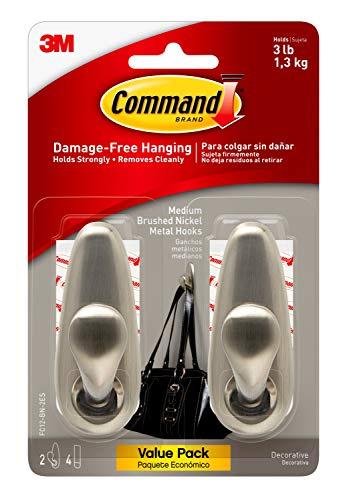 Command Medium Forever Classic Metal Hook, Medium, Brushed Nickel, 2-Hooks, Decorate Damage-Free