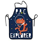 NiYoung Women Men Funny Aprons Polyester Bib Apron Kitchen Chef Apron for Cooking Baking BBQ Painting, Sexy Lovely Handsome Multi-Sized Space Explorer Dinosaur Astronaut