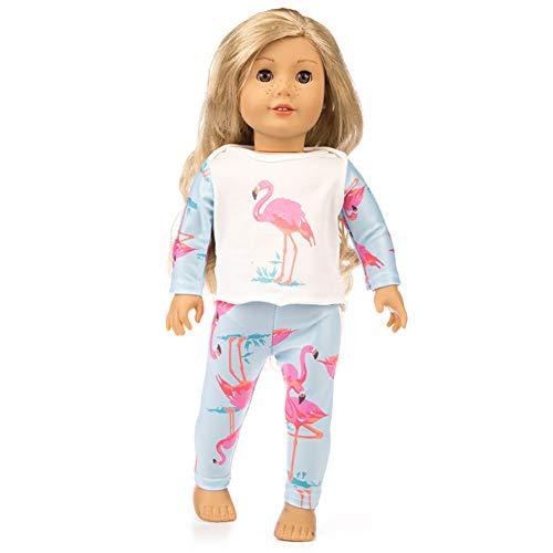 Metermall Hot leuke afdrukken pyjama pak pop kleding voor 18 inch meisje pop accessoires kid's verjaardagscadeau struisvogel 18 inch pop