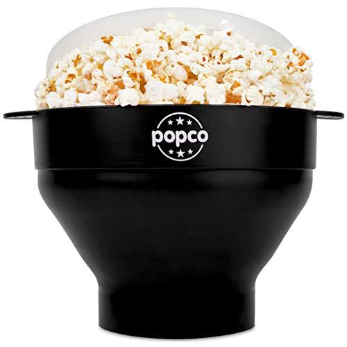 Popco Popcorn-Popcorn-Maschine aus Silikon mit Griffen, faltbare Schale, BPA-frei und spülmaschinenfest – 10 Farben erhältlich schwarz