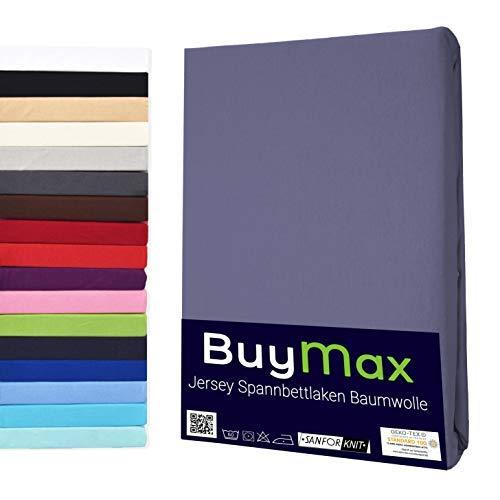 Buymax Spannbettlaken 140x200-160x200 cm Spannbetttuch Bettlaken 100% Baumwolle Jersey Bettbezug für Matratzen bis 25 cm Steghöhe, Anthrazit-Grau