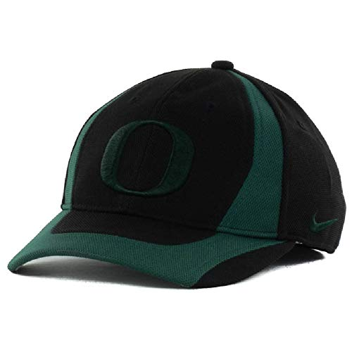 Nike Youth Oregon Ducks Team Stretch Flex Fit Jersey Knit Active Performance Cap Hat 9N3046-OD (Black-Green, Kids Size 8-20 [Ages 8-14+])