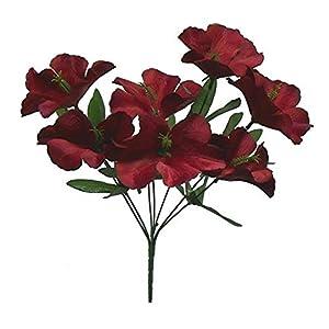 5 Hibiscus Wedding Centerpieces Bridal Bouquet Silk Flowers Bush Color Burgundy Wine