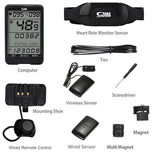 LoveOlvido Sunding SD 577C Bike Velocímetro Monitor de cadencia inalámbrico de Ritmo cardíaco Cronómetro Bicicleta Computadora Ciclismo Odómetro Accesorios - Negro