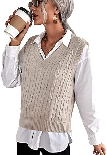 ELESOL Sweater Vest Womens Sleeveless Sweater V Neck Knit Sweater Vest Solid Classic Crop Knitted Vest S-XXL