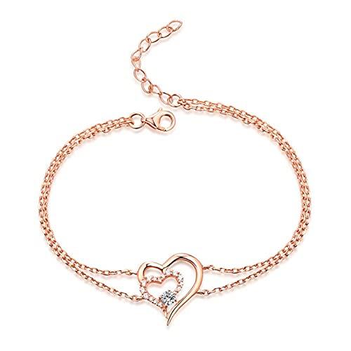 925 Sterling Silber YCHZX Halskette Personalisierte Geburtsstein Doppelherz Armband Damen Liebesarmband Liebhaber Mutter Geschenk Roségold