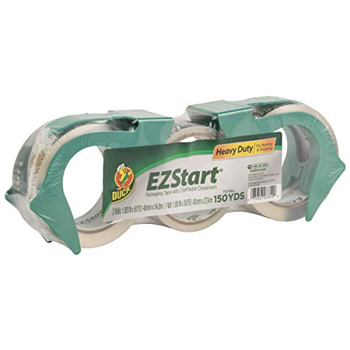 Duck EZ Start Packing Tape, 2 Dispensers, 3 Rolls, 150 Total Yards of 1.88 Inch...