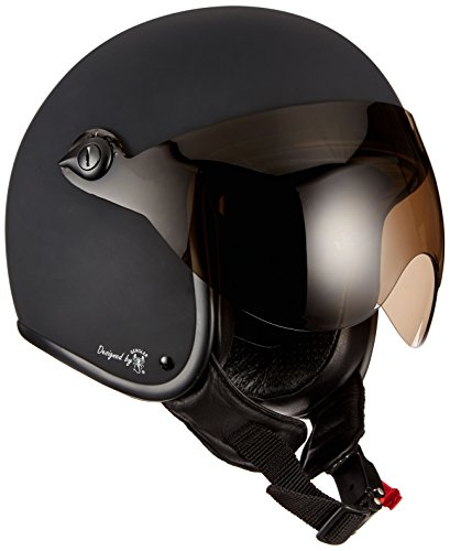 Bores Bogo 2 Casque jet en cuir avec visière conçu par Gensler Ce-EN1077 Test sportif Sans ECE Noir mat Taille 2XS = 49 cm