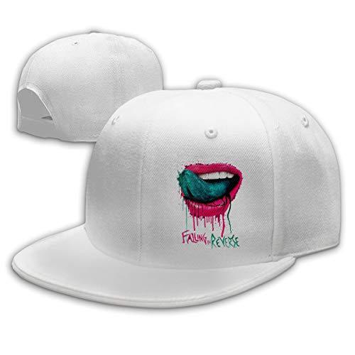 Lucyhu Damen Herren Falling In Reverse Lips Logo White Snapback Baseball Hat Cap Baseballcap Kappe Flatbrim Mütze Für Jungen Mädchen