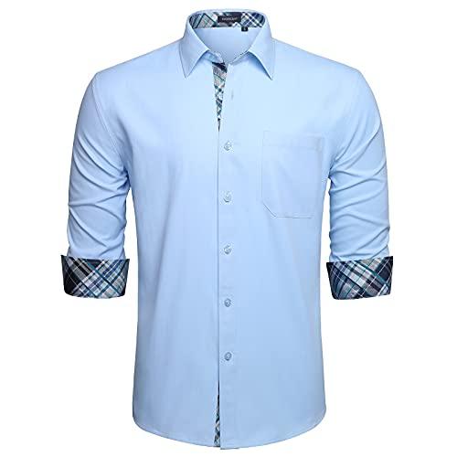 HISDERN Camisas Azul Claro Hombres Camisa Hombre Manga Larga Ropa Camisas de...