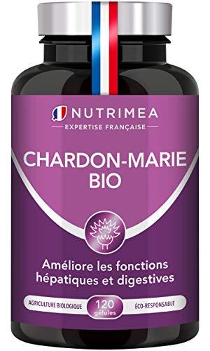 Poudre de Chardon Marie BIO - 100% pure - Complément foie triple action : détoxification protection et renforcement - Assimilation maximale - 120 gélules Vegan - Fabriqué en France - Nutrimea