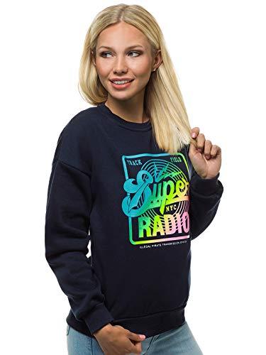 OZONEE Damen Sweatshirt Pullover Langarm Farbvarianten Langarmshirt Pulli ohne Kapuze Baumwolle Baumwollmischung Classic Motiv Rundhals-Ausschnitt Sport 777/6954B DUNKELBLAU M