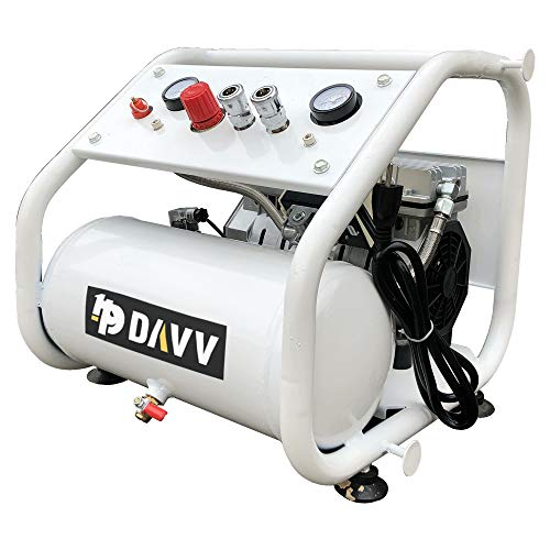 HPDAVV Oil-Less Portable Air Compressor - Duel Outlet - 110V/650W/6.5A - 4cfm @ 125psi - 2Gal Tank - 42lbs Light Weight - 56dB Ultra Quiet Garage Tool