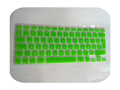 Silicone Soft Color French Uk/Eu Azerty Keyboard Clavier Cover Skin For Mac Book Pro Macbook Air 13' 15' 17' Air 13 before 2018-green-