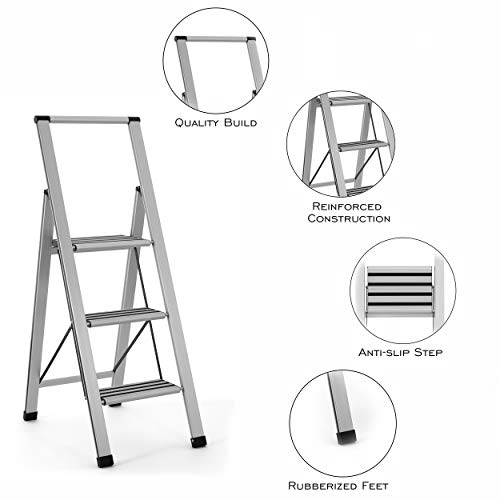 Sorfey Premium 3 Step Modern Aluminum Ladder. Lightweight,-Ultra Slim Profile, Anti Slip Steps, Sturdy-Portable for Home, Office, Kitchen, Photography Use, Aluminum Finish
