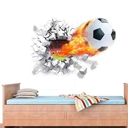 3d Firing Football Wandaufkleber für Kinderzimmer Dekoration Home Decals Diy Wandkunst Sport Sportspiel Fußballfans Geschenk50 * 70cm