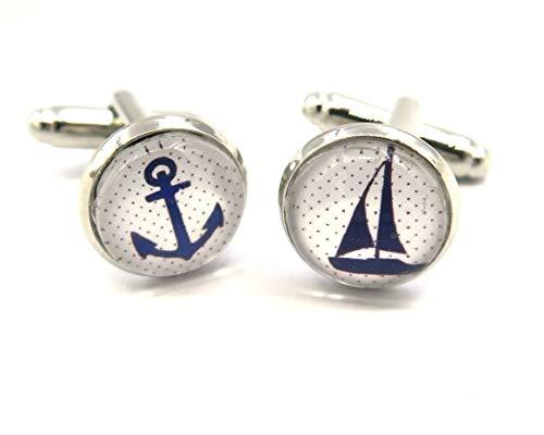 schmuck-stadt Segelboot Anker Motiv Cabochon Manschettenknöpfe Silber-Farben Modeschmuck
