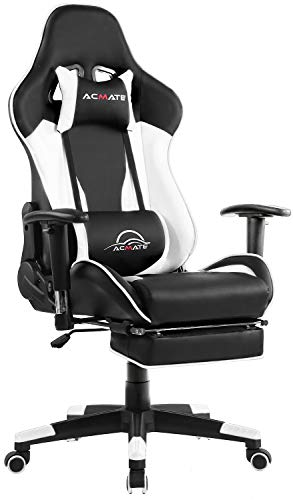 Acmate Massage Gaming Chair Ergonomic Computer Chair with Footrest Reclining Home Office Chair Racing Style Gamer Chair for E-Sports High Back Gaming Desk Chair with Headrest and Lumbar Support